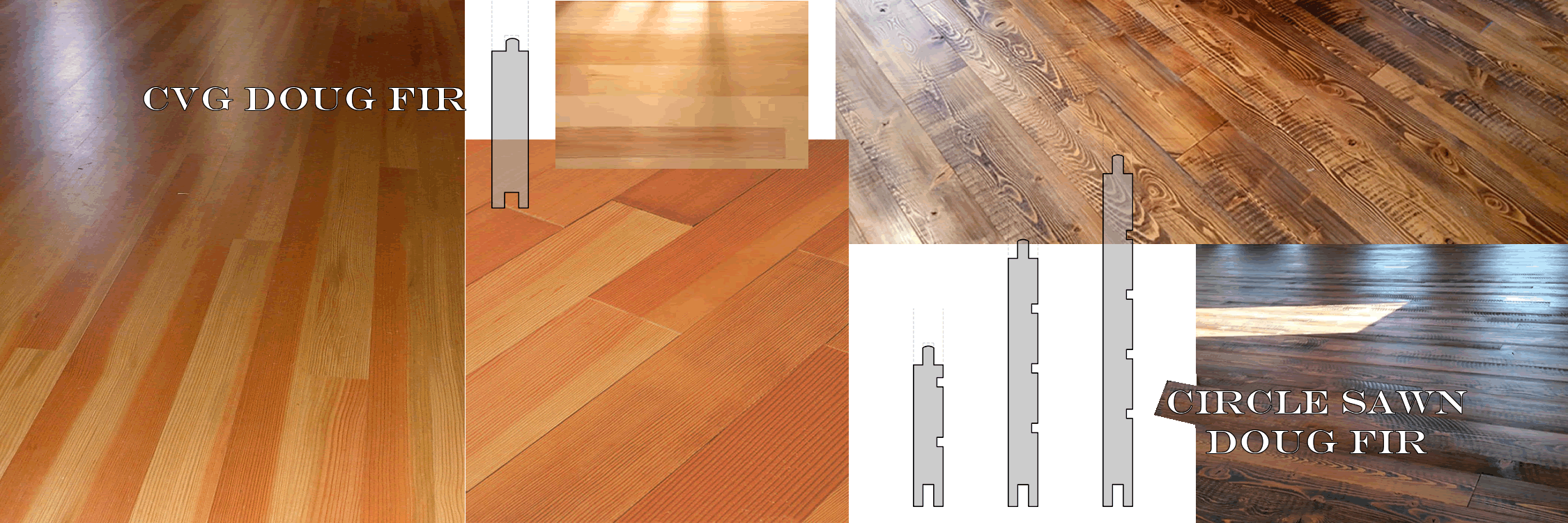 images and profiles of clear verticle grain & circle sawn doug fir flooring
