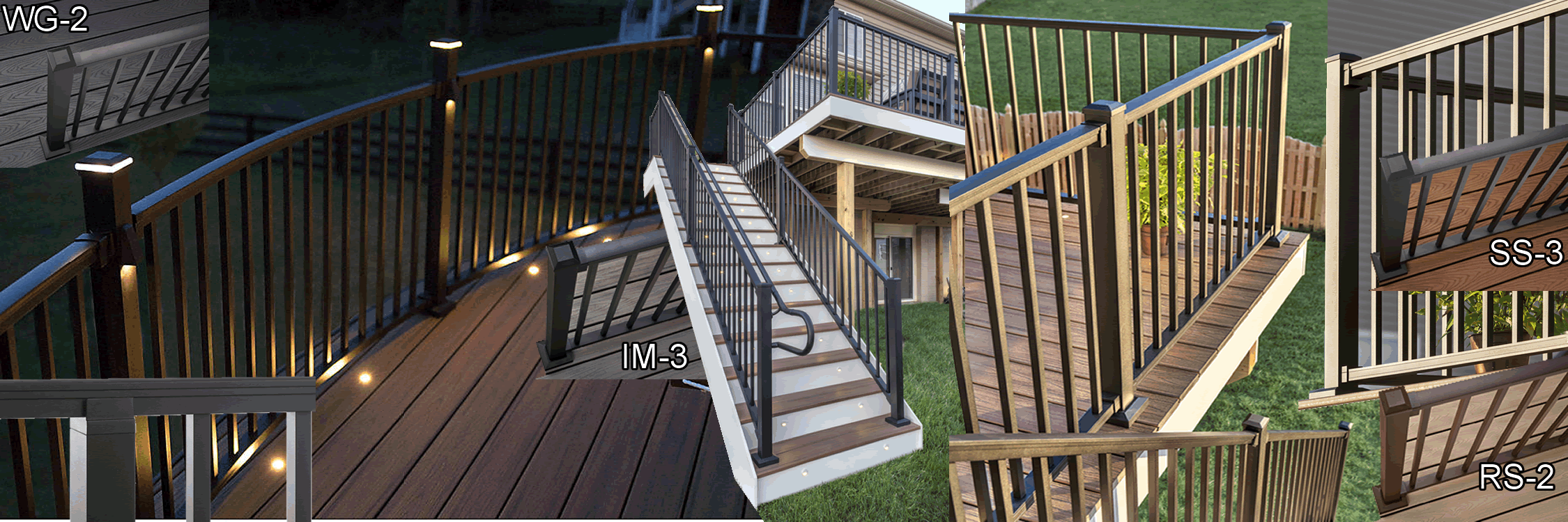 various images of signature railing and duos