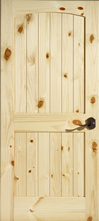 knotty pine 2 panel arch top door